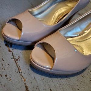 Pink open toe heels